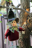 Pilgrim doll. Thanksgiving pilgrim doll hanging from tree. home decor. outdoors stock photography
