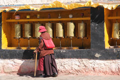 Pilgrim at Drepung Monastery, Tibet Royalty Free Stock Photos