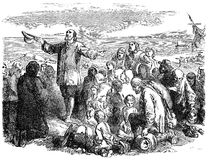 Pilgrim Fathers leaving England. An engraved illustration of the Pilgrim Fathers leaving England, from a Victorian book dated 1883 that is no longer in copyright Royalty Free Stock Image