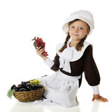 Pilgrim Girl's Fruit Basket Stock Images