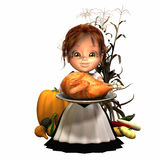 Pilgrim Girl with Turkey. And various harvest fruits and vegetables.  Isolated on a white background Royalty Free Stock Photography