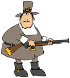 Pilgrim With A Gun. This illustration depicts a Pilgrim carrying a blunderbuss rifle Stock Photos