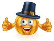 Pilgrim hat pumpkin. A cartoon thanksgiving pilgrim hat pumpkin man mascot character Royalty Free Stock Photo