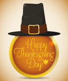Pilgrim Hat on Round Golden Button with Thanksgiving Message, Vector Illustration stock illustration