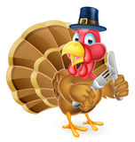 Pilgrim Hat Thanksgiving Cartoon Turkey Holding Knife and Fork Royalty Free Stock Images