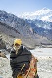 Pilgrim in Himalaya mountains Stock Photos