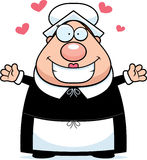 Pilgrim Hug. A happy cartoon pilgrim woman ready to give a hug Royalty Free Stock Images
