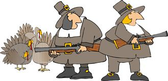 Pilgrim hunters. This illustration depicts 2 Pilgrims hunting turkeys Royalty Free Stock Photo