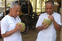 Pilgrim in India. March 08,2012 Mayapur,Nadia,West Bengal,India,Asia- Pilgrims drinking coconut water at outside of the ISKCON temple Royalty Free Stock Photography