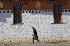 Pilgrim at the Jampey Lhakhang temple, Chhoekhor, Bhutan Royalty Free Stock Photos