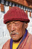 Pilgrim at the Jampey Lhakhang temple, Chhoekhor, Bhutan Stock Photography