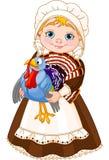 Pilgrim lady with turkey stock illustration