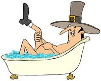 Pilgrim man taking a bubble bath Royalty Free Stock Images