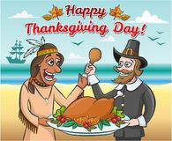 Pilgrim and a native american with a roast turkey vector illustration