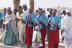 Pilgrim party visiting Qasr el Yahud Stock Photography