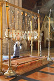 Pilgrim prays in a white veil Royalty Free Stock Photography