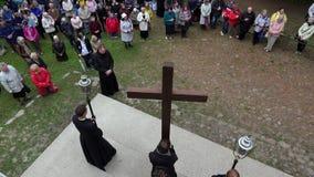 Pilgrim, priest procession pray of Pentecost worship. 4K stock video footage