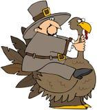 Pilgrim Riding A Turkey Stock Photo
