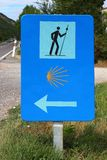 Pilgrim road sign pedestrian way of saint James Royalty Free Stock Photo