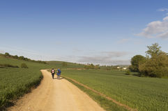 Pilgrim on the road to Santiago de Compostela in Burgos Stock Images