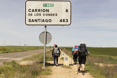 Pilgrim on the road to Santiago de Compostela in Castilla y Leon Royalty Free Stock Photo