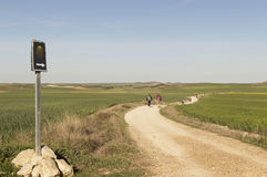Pilgrim on the road to Santiago de Compostela in Castilla y Leon Stock Photo