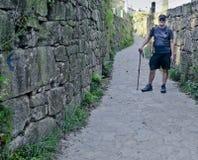 Pilgrim on the road to Santiago de Compostela, Spain Royalty Free Stock Image