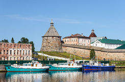 Pilgrim ships at berth in a bay near the Solovetsky Monastery stock image