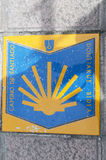 Pilgrim sign at the Camino de Santiago de Compostela Royalty Free Stock Photography