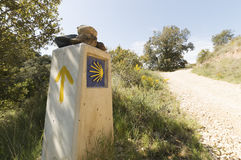 Pilgrim sign at the Camino de Santiago de Compostela Royalty Free Stock Photo