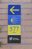 Pilgrim sign at the Camino de Santiago de Compostela Stock Photo