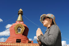 Pilgrim in Tibet Stock Photo