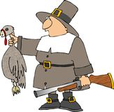 Pilgrim with a turkey. This illustration depicts a Pilgrim man carrying a blunderbuss gun & a turkey Royalty Free Stock Photo