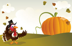 Pilgrim Turkey And A Giant Pumpkin Royalty Free Stock Photos