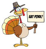 Pilgrim turkey holding a blank sign royalty free illustration