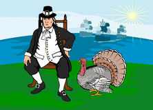 Pilgrim with turkey and ships Stock Images
