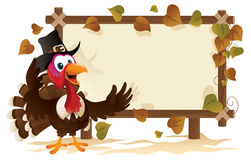 Pilgrim Turkey With A Signboard royalty free illustration