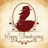 Pilgrim Turkey Silhouette, Vector Illustration Royalty Free Stock Photography