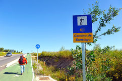 Pilgrim on the way to Santiago, Via de la Plata, province of Badajoz, Spain Royalty Free Stock Photography