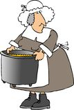 Pilgrim woman carrying a large pot Stock Photo