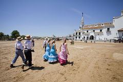 Pilgrimage. El Rocio Andalucia, SPAIN - MAY 12: Participants ready to take part of the Romeria del Rocio pilgrimage May 12, 2011 in El Rocio Royalty Free Stock Photo
