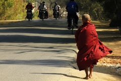 Pilgrimage of Buddhism in Bagan. Priests of the people with the pilgrimage of Buddhism in Bagan stock images