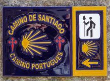 Pilgrimage on the Camino de Santiago trail, Portugal. PONTE DE LIMA, PORTUGAL - SEPTEMBER 3, 2017: Waymark along the Way of St. James on September 3, 2017 in Royalty Free Stock Photography
