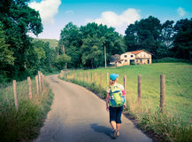 Pilgrimage at Camino de Santiago. Woman at pilgrimage of Camino de Santiago Stock Image