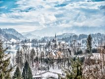 St Mary Church on Bled island, Slovenia. The Pilgrimage Church of the Asumption of Maria on Bled island, Slovenia, Europe Royalty Free Stock Photos