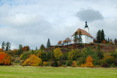 The pilgrimage church on the hill of Uhlirsky vrch near Bruntal. Czech Republic royalty free stock photo