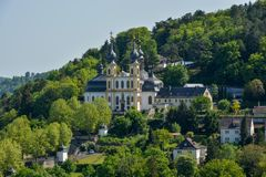 The pilgrimage church Kaeppele on a hill in Wuerzburg on a sunny. The pilgrimage church Kaeppele on a hill in Wuerzburg close up on a sunny day Royalty Free Stock Photos