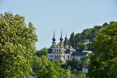 The pilgrimage church Kaeppele on a hill in Wuerzburg on a sunny. The pilgrimage church Kaeppele on a hill in Wuerzburg close up on a sunny day Royalty Free Stock Photo