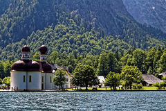 Pilgrimage church St Bartholomew at lake Königssee Royalty Free Stock Image