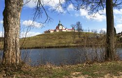 The pilgrimage Church at Zelena hora in Czech republic, UNESCO world heritage. The Pilgrimage Church of St. John of Nepomuk at Zelená hora is situated near stock images